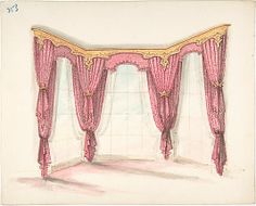 Design for Red Curtains with a Gold Pelmet Anonymous, British, 19th century   Date:     early 19th century Medium:     Ink, watercolor and wash Dimensions:     sheet: 9 5/8 x 11 15/16 in. (24.5 x 30.3 cm) Classification:     Drawings