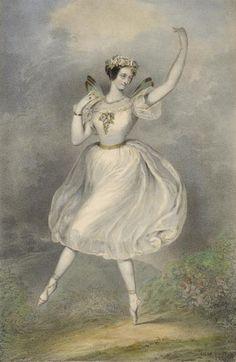 1830s Marie Taglioni wears the first tutu in 'La Sylphide'