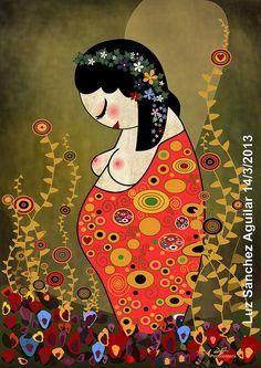Pregnant Kokeshi by iLUZtración