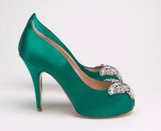 Farfalla Emerald Green Satin Heels    @Erin Criswell  Is this my color green :0) ?????????????????????????