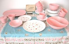 Vintage Pink Rosebud Melamine (Melmac) Marcrest Dishes - 8 Place Settings - Mint