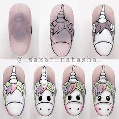 Cute Nail Art, Gel Nail Art, Gel Nails, Nail Manicure, Unicorn Nail Art, Unicorn Nails Designs, Simple Nail Art Designs, Nail Designs, Nail Art Disney