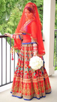 Red & blue lengha