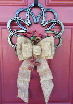 Horseshoe wreath by Ironnlace1 on Etsy