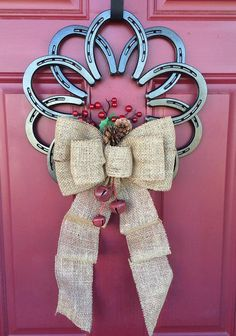 Horseshoe wreath by Ironnlace1 on Etsy