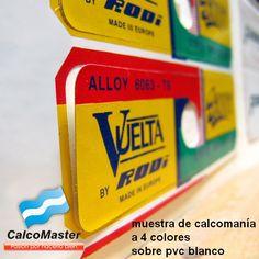 Calco / Calcomania impresa en pvc blanco autoadhesivo e impreso a 4 colores + troquelado