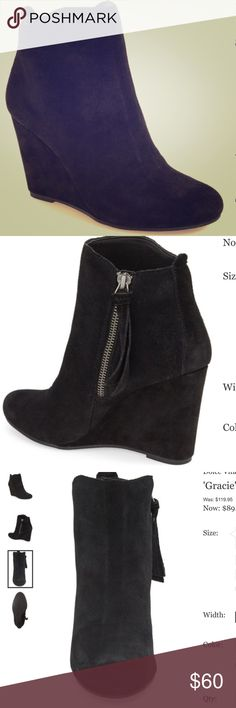 "Dolce Vita Gracie Wedge Bootie Black suede wedge Bootie. Essential suede Bootie lifted by a covered wedge heel. 3.5"" heel, 4.5"" shaft. Side zip closure. Leather upper/textile and synthetic lining/synthetic sole. Like-new condition. Dolce Vita Shoes Ankle Boots & Booties"