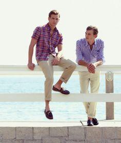 check shirts boatshoes men prep preppy Summer fashion