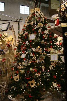 Nate & Mary Eberle's handmade paper flower Christmas tree