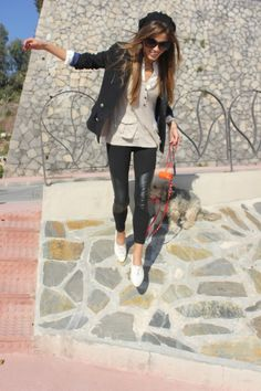 beige and white shirt, black blazer, leather leggings and white plimsole shoes