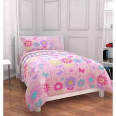 Mainstays Kids Daisy Floral Bed in a Bag Bedding Set - Walmart.com