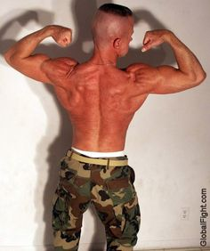 a military drill instructor shirtless gay musclehunk