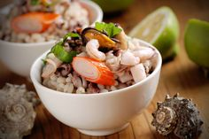 Hulled Barley Shrimp Salad : This protein-packed salad, featuring a creamy avocado dressing, will help keep you satisfied throughout the day. Seafood Recipes, Cooking Recipes, Healthy Recipes, Healthy Tips, Yummy Recipes, Hulled Barley, Healthy Coleslaw, Creamy Avocado Dressing, Orzo Salad Recipes