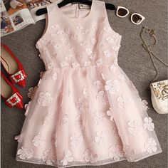 """Item Type:Dress Material:Cotton Sleeve Length:Sleeveless Collar:Round Neck Pattern:Solid Color Style:Fashion Color:White, Pink, Light Blue Size: XS (US size) Bust: 31-33"""", Waist: 23-25"""", Hips: 33-35"""""""