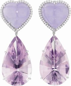 Purple diamond drop earrings - Phillips de Pury & Company: MARGHERITA