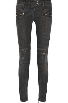 Balmain Moto-style distressed mid-rise skinny jeans   NET-A-PORTER