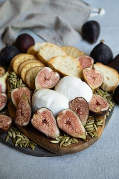 A beautiful cheese board with tender fresh figs, burrata and pumpkin seeds! Add dried figs, too! #cheeseboards #freshfigrecipes #burratarecipes #californiafigs Dried Figs, Fresh Figs, Fig Appetizer, Appetizers, Burrata Cheese, Fall Picnic, Fig Recipes, Pomegranate Juice