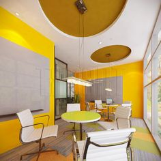 Bright coloured meeting room to amped up the day for discussion. Suitable for 8 pax.  #officeinteriordesign #traartinteriordesign #interiordesign #meetingroom