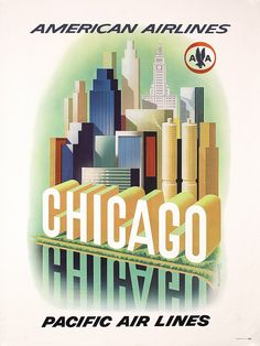 Lot 365: Original 1950s American Airlines CHICAGO Travel Poster - PosterConnection Inc. | AuctionZip