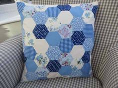 handmade hexagon quilt pillow from All Occasions Cards, Papers and More ... inspiration for a card .. prints and solids ... blues ...
