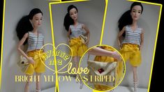 Bright Yellow and Striped Outfit for Barbie | How to and DIY doll outfit | nynnie me - YouTube