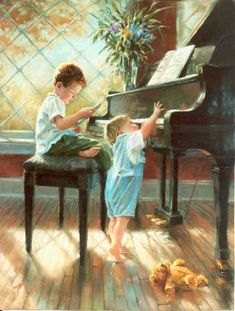 Brothers playing the piano - Artist: Kathy Fincher