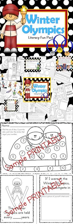 Winter Olympics Literacy Fun Pack (k-1) perfect supplement for the winter games