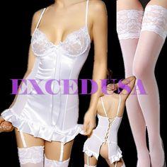 XS-3XL garters+teddies+G-string+stocking sexy lingerie love sex toys White#287