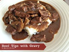 Beef tips with gravy served over mashed potatoes is pure comfort food.
