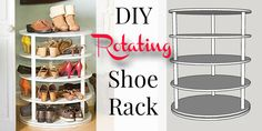 Build this DIY rotating shoe rack to maximize your shoe storage space and keep all those lovely loafers, slippers, and heels organized. Shoe Cubby, Shoe Storage, Storage Spaces, Storage Design, Diy Storage, Rotating Shoe Rack, Shoe Rack Plans, Rack Industrial, Homemade Closet