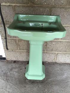 Armitage Wase Avocado Green Basin & Pedestal 1959 Vintage Great Condition BS11BB