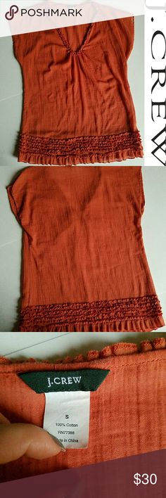 🍁J.CREW Orange ruffled tunic! LIKE 🆕 *EUC Worn once ** SIZE SMALL this was sold as a swimsuit cover tunic, could also be used as blouse, fits M!!  100% cotton J. Crew Tops Tunics