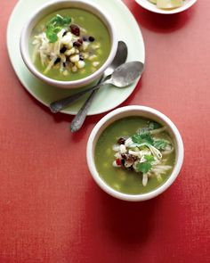 Green Chile Posole with Black Beans - Martha Stewart Recipes. Made this tonight and it was fantastic. The recipe in the Homesick Texan cookbook says that you can sub an 11 oz can of tomatillos, drained, for fresh, which is what I did and it was great. Made it with vegetable stock. Great vegetarian/vegan dish that even meat eaters would love!