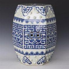 Geometric Pattern Hexagonal Ceramic Garden Seat