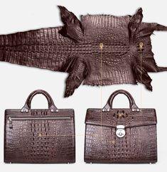 Genuine crocodile briefcase for men