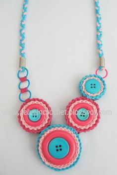 Necklace created with crochet techniques and added cute button as combination.