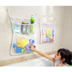 bath toy   4 pockets strong storage mesh bag set hanging bathroom organizer with toy   hammock for stuffed animals 80   jumbo strong mesh toy      rh   pinterest