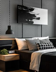 47 Modern Bedroom Interior Design Bedroom Ideas Home Decor Modern House Design, Modern Interior Design, Bedroom Interior Design, Masculine Interior, Luxury Interior, Interior Ideas, Bed Room Design Modern, Black Room Design, Grey Interior Paint