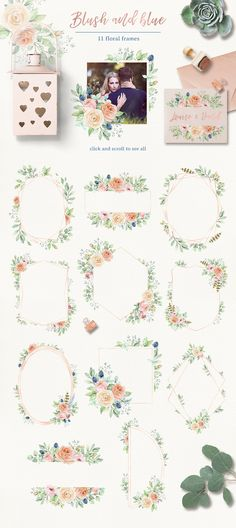 """Blush and blue - watercolor clipart by long summer on @creativemarket I present the watercolor set """"Blush and blue"""". This collection contains a lot of individual elements and ready-made compositions. It's ideal for creating invitations, wedding invitations, postcards and many other projects. Be sure to click on the image to see all elements. [ad] #design #floral"""