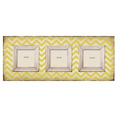 Shabby Chic Yellow Chevron 3-slot Wood Picture Frame