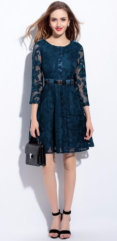 229b0fabd26b Lace Luxury Women A Line Dress With Belt 3 4 Sleeve Dresses 04M16071B1-in  Dresses from Women s Clothing   Accessories on Aliexpress.com