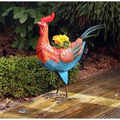 Garden Planter Rooster with Pot 53cm Height Flower Outdoor Ornament Xmas Gift