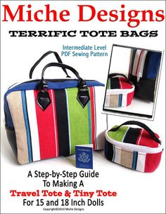 Miche Designs Terrific Tote Bags Doll Clothes Pattern 18 inch American Girl Dolls | Pixie Faire