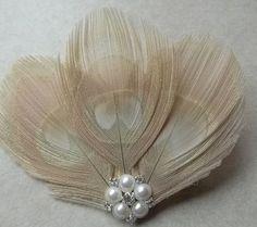 pretty ivory peacock hair clip