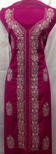 Gulabi color suit  Tila work  Nice aari work design