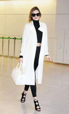 Miranda Kerr - Wear yours like the supermodel. Pair with a polished monochromatic outfit—a sleek lightweight trench, crop top, skinnies andlace-up heels.