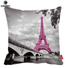 Cazzpc Cushion Cover Retro Pink France Paris Eiffel Tower Pattern Print Home Decor Size 45x45cm ** You can find out more details at the link of the image-affiliate link. #FireplaceAndAccessories