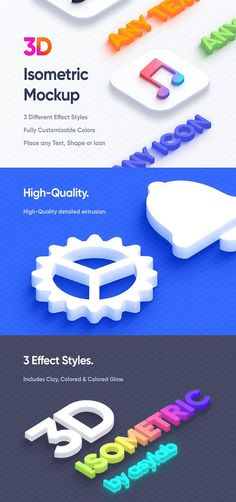 Isometric 3D Mockups - PSD Create awesome designs with these isometric mockups having 3 different styles. As well as includes Double 3D Logo Icon for your logo presentation. Place any text, shape, icon, or logo to make it 3D Isometric. Features: Includes 9 .PSD with resolution 5660 x 3750 (Includes Separated PSD for Flat & Detailed Extrusion). Includes 6 .PSD with resolution 2830 x 1875. Recommend to use to preview your design first as it works much faster. Includes 3 Different Effect Styles… Creative Photoshop, Awesome Designs, Graphic Design Templates, 3d Logo, Modern Fonts, Different Styles, Mockup, Your Design, Presentation