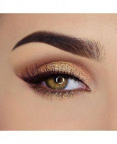 Gold Eyeliner, Gold Eye Makeup, Eyeshadow Makeup, Eyeshadow Palette, Makeup Brushes, Gold Makeup Looks, Gold Wedding Makeup, Gold Eyeshadow Looks, Makeup Palette