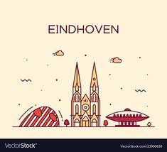 Eindhoven skyline netherlands line big city Vector Image , #AD, #netherlands, #line, #Eindhoven, #skyline #AD